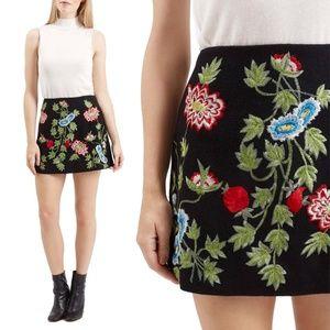 Topshop Floral Wool A-line Mini Skirt